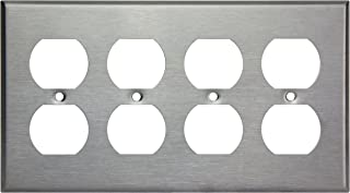 Enerlites 7724 Duplex Outlet Stainless Steel Wall Plate 4-Gang, Standard Size, 430 Grade Alloy Metal Plate Corrosive Resistant Cover for Electrical Power Socket Receptacles