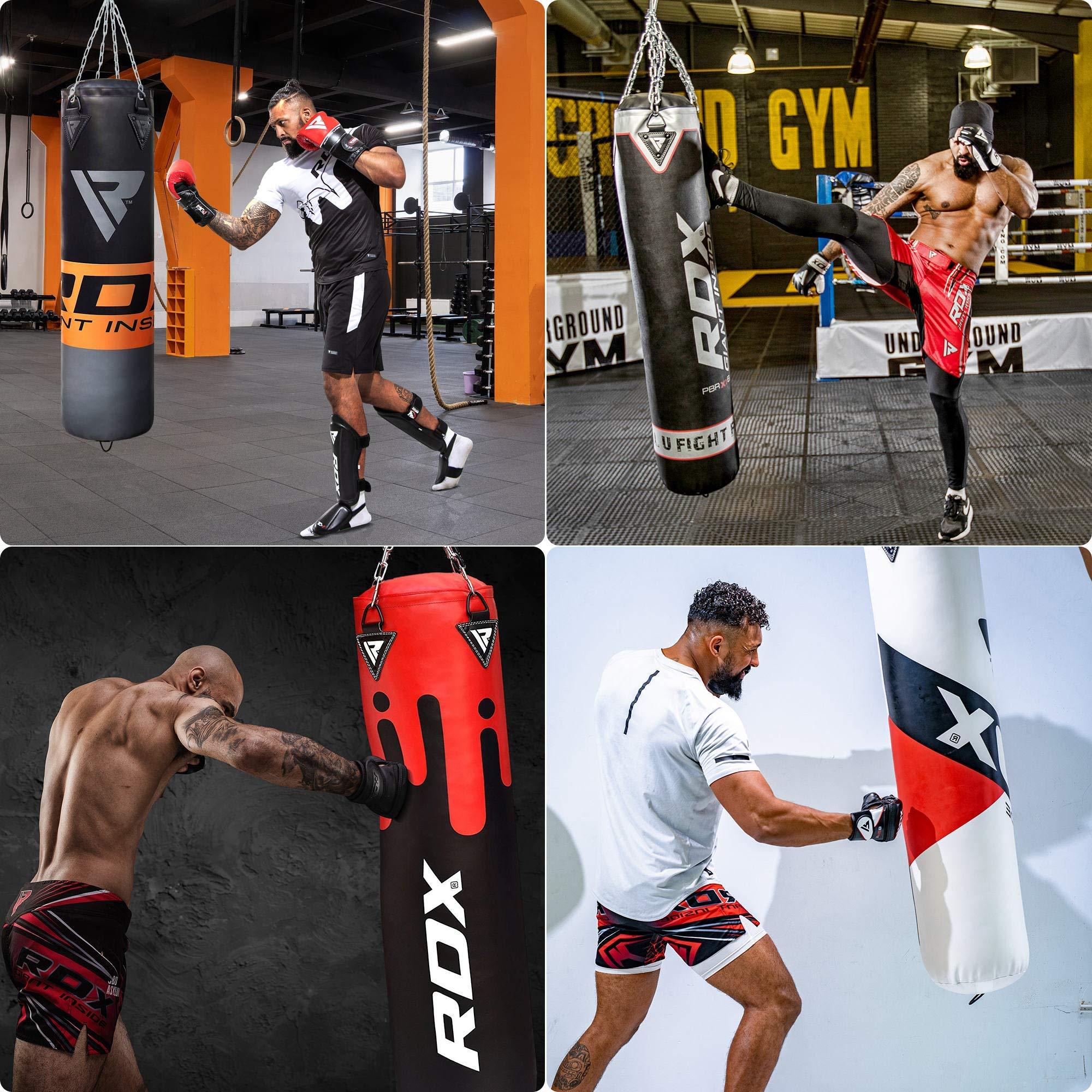 RDX Saco de Boxeo Relleno MMA Muay Thai Kick Boxing Artes Marciales con Soporte Pared Cadena Guantes 8PC 4FT 5FT Punching Bag: Amazon.es: Deportes y aire libre