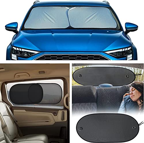 """popular EcoNour Gift Bundle   Foldable 2-Piece Sun Shade for Car Windshield Small (23.5"""" lowest x 29"""") + Car Side Window Sun Shade high quality 20""""x12"""" (4 Pack) + Sun Shade for Back Car Window (Large 39""""x17"""") online sale"""