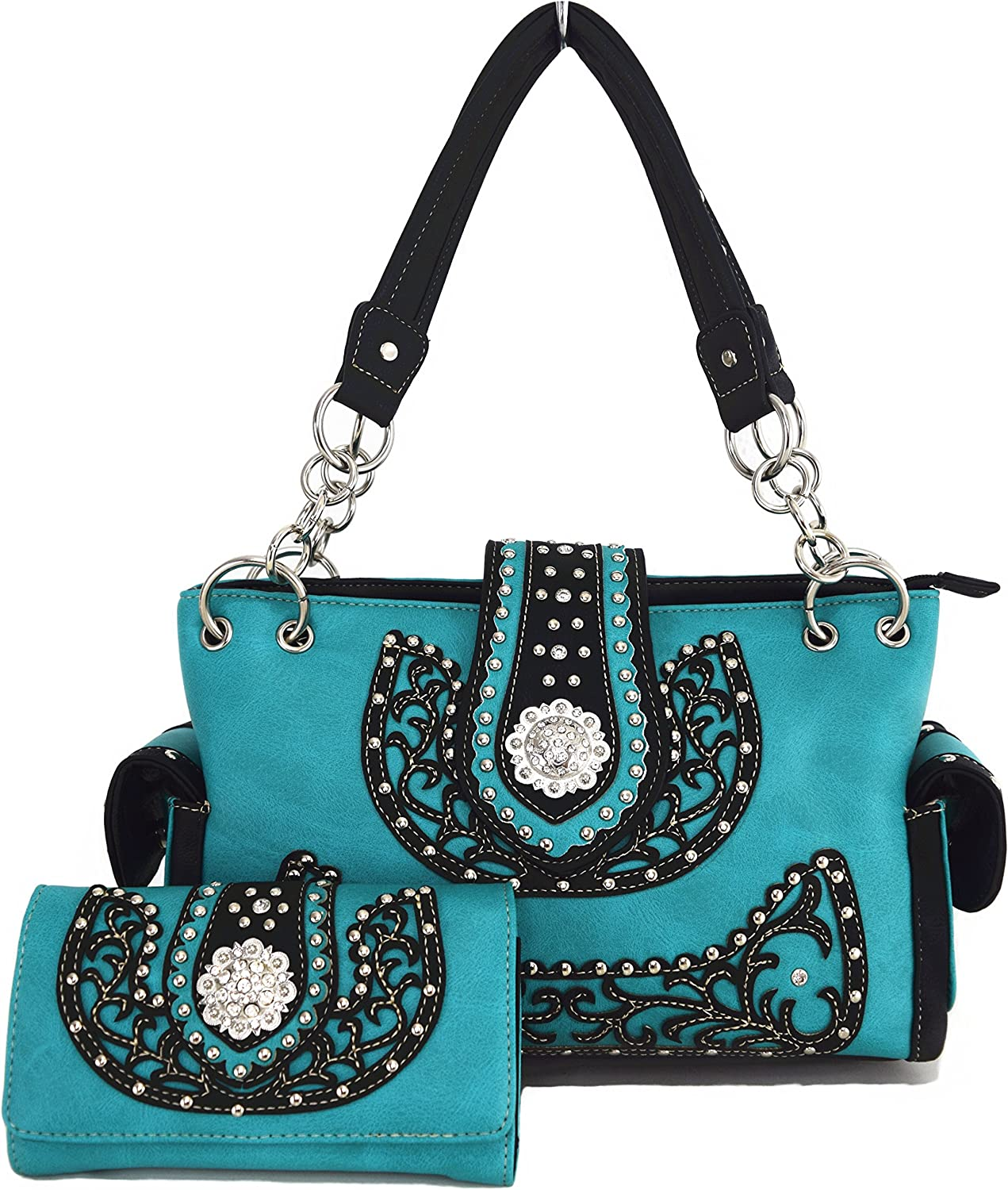 Western Cowgirl Concealed Carry Belts Rhinestone Purse Handbag Messenger Shoulder Bag Wallet Set Turq