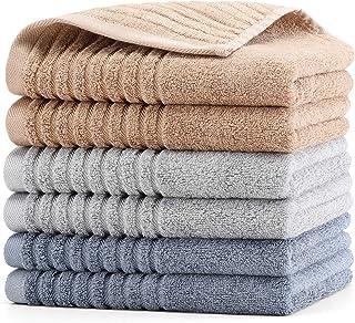 HomeFirst フェイスタオル セット 6枚 75x35cm タオル 竹繊維 綿 重さ約130g/枚 人気 ホテル仕様 タオル ふんわり 柔らかな肌触り 吸水 速乾 通気 抗菌 防臭 家庭/ホテル/スポーツなどに最適 (3色)