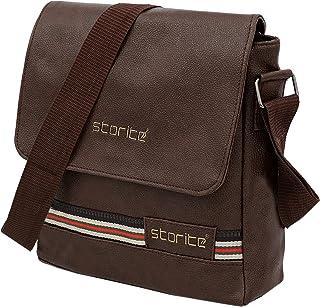 Storite Stylish PU Leather Sling Cross Body Travel Office Business Messenger Bag for Men Women (26x6.5x26 CM)