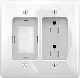 Bryant Electric RR1512W 2-Gang Recessed TV Connection Outlet Plate with 15 Amp 125V Tamper-Resistant Duplex Receptacle with One Pass-Thru Opening, White