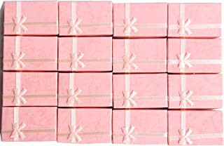 LeBeila 16pcs Paper Jewelry Gifts Boxes For Jewelry Display-Rings, Small Watches, Necklaces, Earrings, Bracelet Gift Packaging Box (Pink)