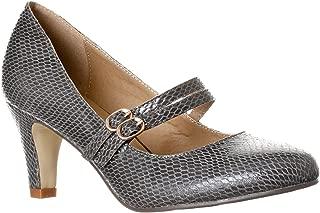 Riverberry Women's Mila Chunky, Mid Heel Mary Jane Pump Heels