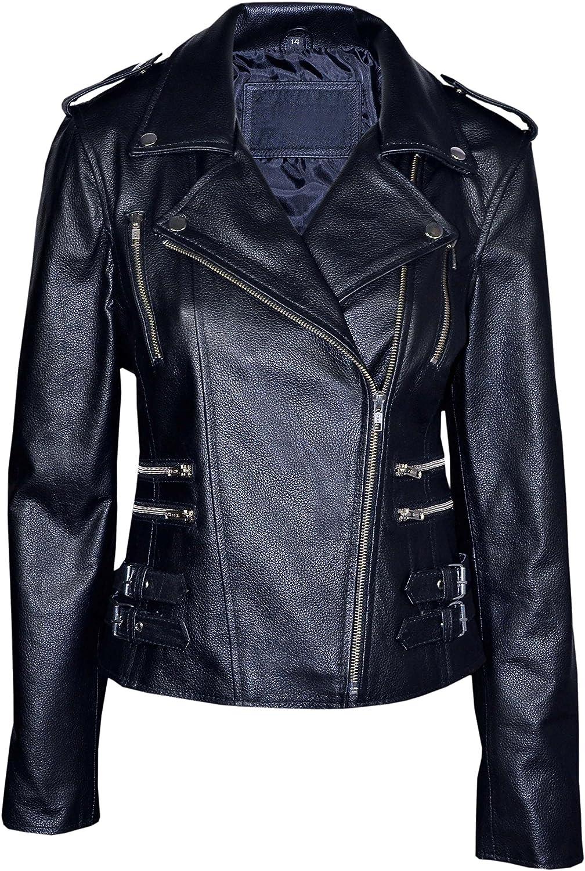MYSTIQUE Ladies BLACK WASHED Biker Motorcycle Designer Leather Jacket