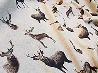 Stag Head Deer Fabric - Curtain Cotton Material christmas moose elk, brown stag, animal print - 55