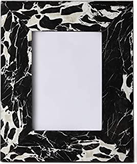 Carla Carstens Black & White Marble 5x7 Picture Frame | Plastic Acrylic Suede Glass | Tabletop Desktop Photo | Wedding Personal Personalized Engagement Anniversary |