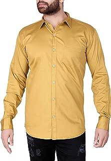 jugend Light Orange Plain/Solid Cotton Slim fit Casual Shirt for Men