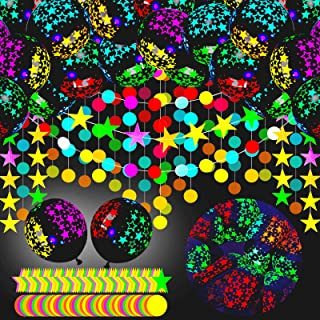 Skylety 50 Pieces 12 Inch Blacklight Balloons UV Neon Balloons Glow in The Dark Balloons with Neon Paper Circle Dots Garla...