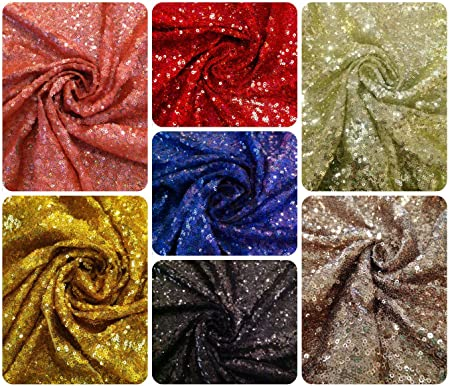 By the Yard or Bulk 3mm Mini Micro Shiny Sequins on Stretch FDY Knit Jersey Polyester Spandex Fabric 50 to 52 Inches Wide
