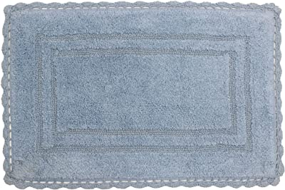 "Home Weavers Casual Elegence Bathmat Collection Absorbent Cotton Soft Reversible Bath Rug, Machine Washable, 21""X34"", Blue"