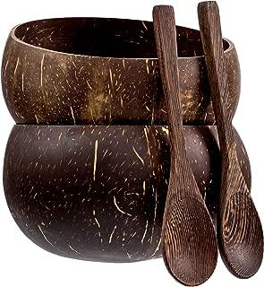 Jumbo Coconut Bowls And Wooden Spoon Sets: 2 Vegan Organic Salad Smoothie or Buddha Bowl Kitchen Utensils (Polished)