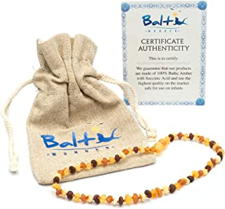 Raw Baltic Amber Teething Necklaces For Babies (Unisex) - Anti Flammatory, Drooling & Teething Pain Reduce Properties - Multi 4 Colors UNPOLISHED Natural Certificated with Highest Quality Guaranteed.