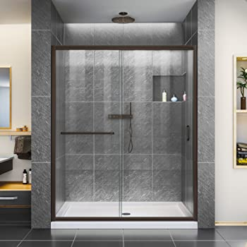DreamLine Infinity-Z 56-60 in. W x 72 in. H Semi-Frameless Sliding Shower Door, Clear Glass in Oil Rubbed Bronze, SHDR-0960720-06
