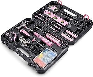Amazon Basics Household Tool Kit with Tool Storage Case - 142-Piece, Pink