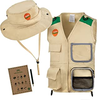 Born Toys Premium Explorer and Safari Costume Cargo Vest and Hat Set with Outdoor Nature Scavenger Hunt for Kid Explorer