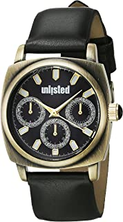 UNLISTED WATCHES Women's Dress Sport Japanese-Quartz Watch with Leather-Synthetic Strap, Black, 22 (Model: 10030912)