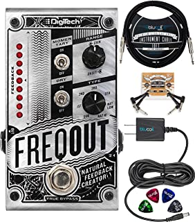 DigiTech FreqOut Natural Feedback Creator Effects Pedal Bundle with Blucoil Slim 9V 670ma Power Supply AC Adapter, 10-FT Straight Instrument Cable (1/4in), 2x Patch Cables, and 4x Guitar Picks