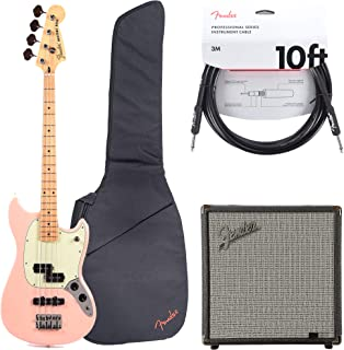 Fender Offset Series Mustang Bass PJ MN Shell Pink w/3-Ply Mint Pickguard (CME Exclusive) Essentials Bundle