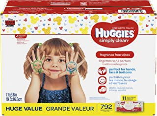 HUGGIES Simply Clean Fragrance Free Baby Wipes, 11 Soft Pack (792 Count Total), Alcohol and Paraben Free