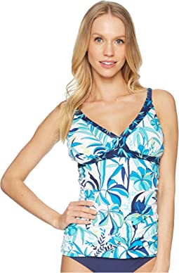 Tropical Swirl Over the Shoulder Shirred Tankini