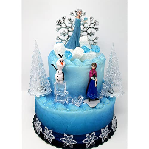 Winter Wonderland Princess Elsa Frozen Birthday Cake Topper Set Featuring Anna Olaf And