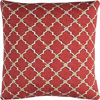 """Rizzy Home Indoor/Outdoor Eaton Filled Decorative Pillow, 22"""" x 22"""", Red/Yellow"""