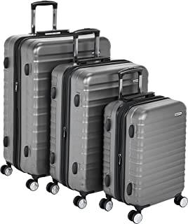 "AmazonBasics Premium Hardside Spinner Luggage with Built-In TSA Lock - 3-Piece Set (21"", 26"", 30""), Grey"