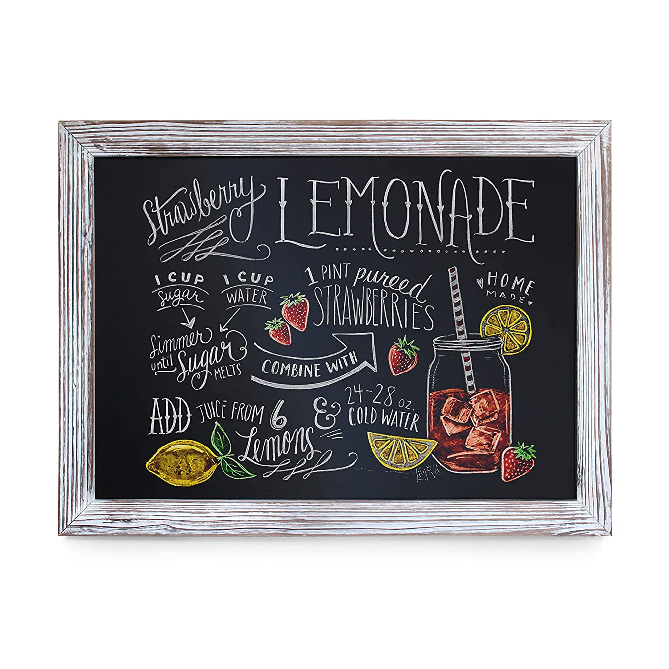 Rustic Whitewashed Magnetic Wall Chalkboard, Large Size 18