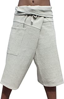 RaanPahMuang 3//4 Capri Length Natural Hemp Fabric Yeaphai Weave Fisherman Pants