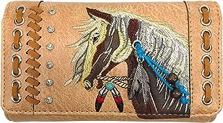 Zelris Dakota Dales Pony Horse Embroidery Mane Western Country Women Crossbody Wallet (Tan)