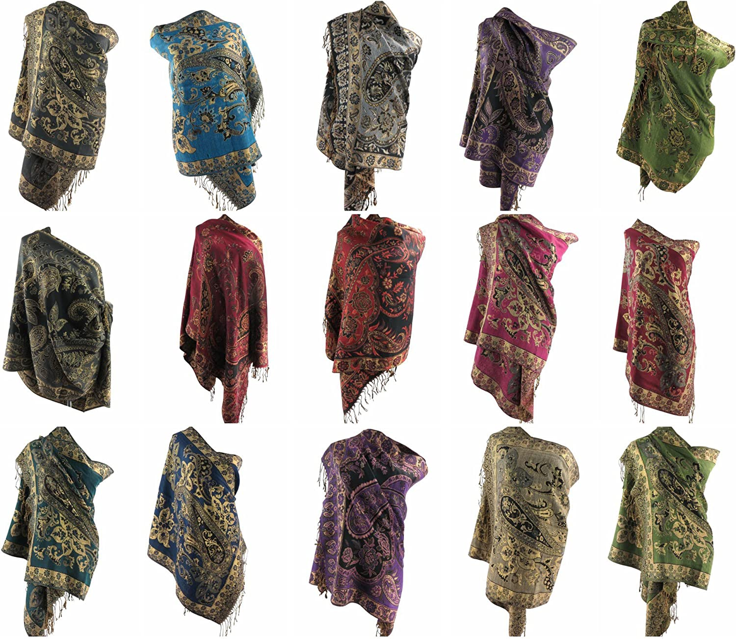 12 scarves floral paisley gold thread embeded pashmina shawl wrap stole Evening shawl Scarf