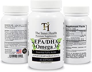 The Inner Health Omega 3 Fish Oil Supplement 1000mg - 60 Softgels - One-a-Day - 120mg DHA + 180mg EPA Supports Normal Func...