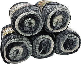 Alize Burcum Batik Lot de 5 pelotes de laine à tricoter Multicolore avec dégradé de couleur, 500 g (gris blanc 1900)