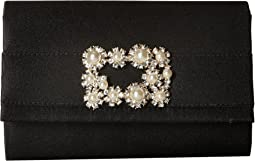 Alexis Satin Rhinestone Broach Clutch
