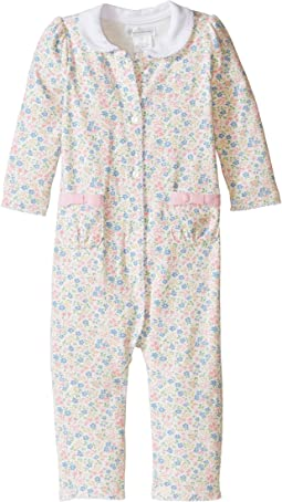 Printed 1x1 Rib Floral One-Piece Coveralls (Infant)