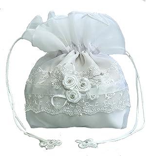 LadyMYP Brauthandtasche, Brautbeutel mit Blüten, Perlen und Strass auf Spitze, Hochzeit, Kommunion Model428
