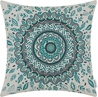 CaliTime Canvas Throw Pillow Cover Case for Couch Sofa Home Decor Floral Compass Leaves Medallion 18 X 18 Inches Teal