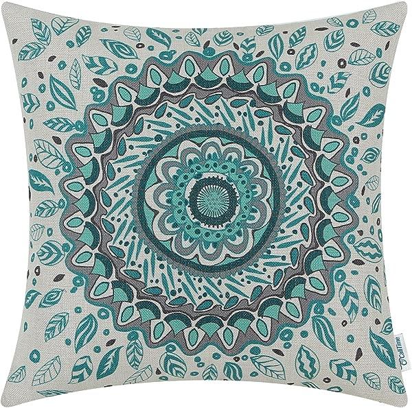 卡里泰姆帆布抱枕套,用于沙发,家居装饰,花卉罗盘,叶子,徽章,18X18 英寸蓝绿色