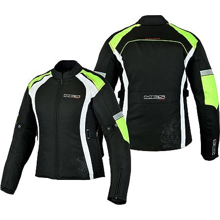 X-Small Motorcycle Ladies Waterproof Jacket Motorbike Women Armored Textile Cordura Coat Silver Flower With Black
