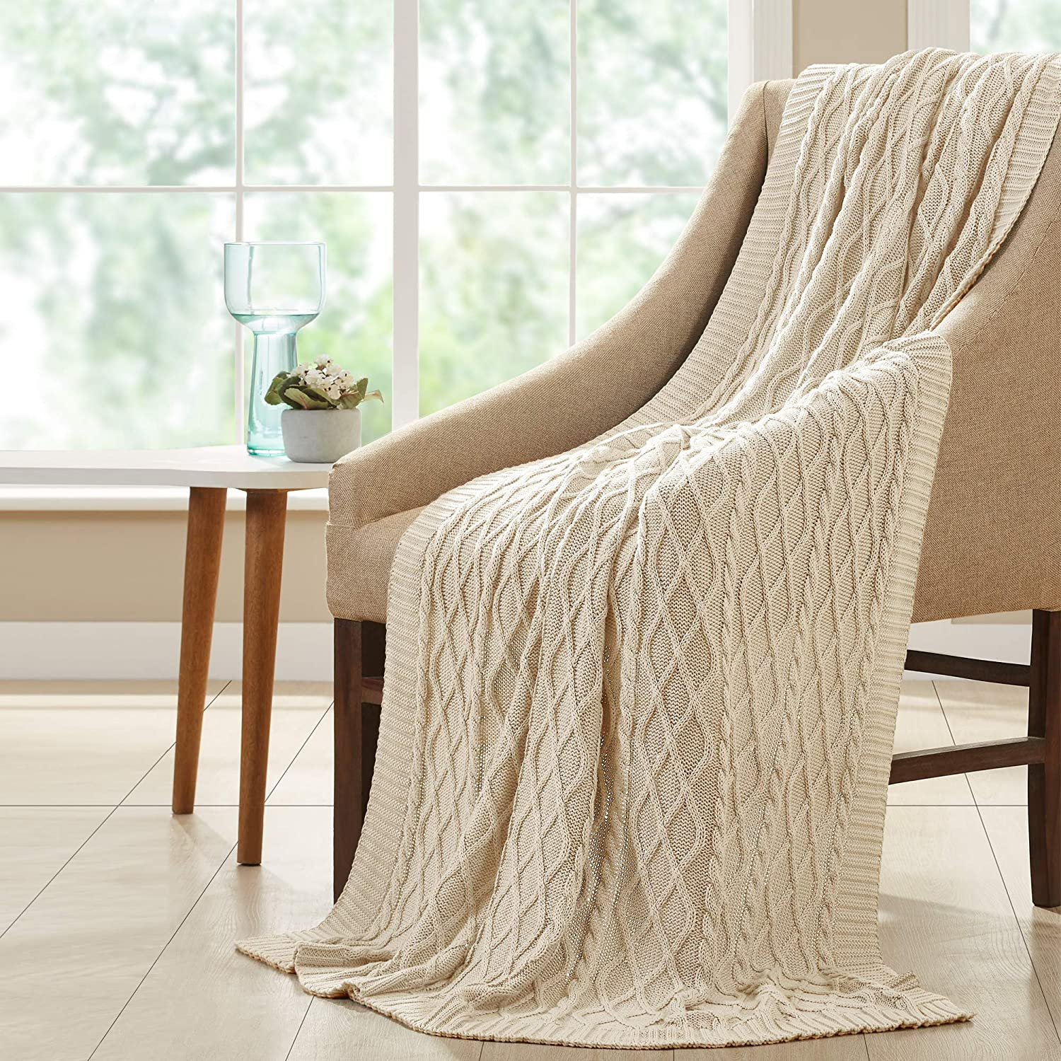 Amrapur Overseas 100% Recommendation Cotton Oversized Diamond Cable Throw Knit Popular shop is the lowest price challenge
