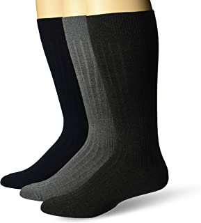 Amazon Brand - Buttoned Down Men's 3-Pack Premium Ribbed Silky Soft Dress Socks