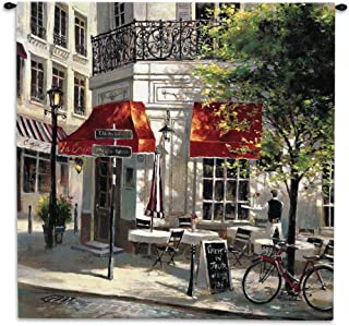 Corner Cafe by Brent Heighten | Woven Tapestry Wall Art Hanging | Paris Street Corner Coffee | 100% Cotton USA Size 53x53