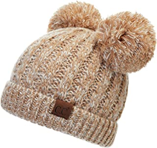 C.C Hatsandscarf Exclusives Cable Knit Double Pom Winter Beanie (HAT-23) (Taupe Mix)