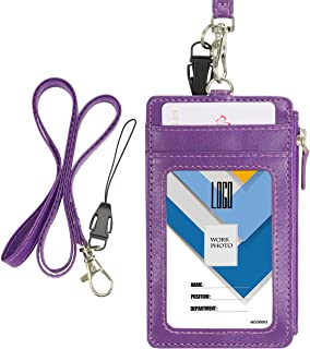 Badge Holder with Zip, Wisdompro School Supply 2-Sided Vertical PU Leather College ID Badge Holder with 1 ID Window, 4 Car...