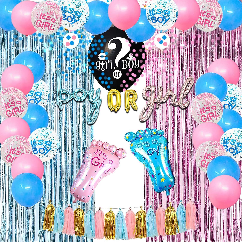 Suministros Fiesta Revelar Género Bebé Globo de Revelación 36 pul Bandera de Niño o Niña, Globos Aluminio Globo Rosa Azul Cortina de Flecos Metálica Borlas Papel Seda para Baby Shower Cumpleaños