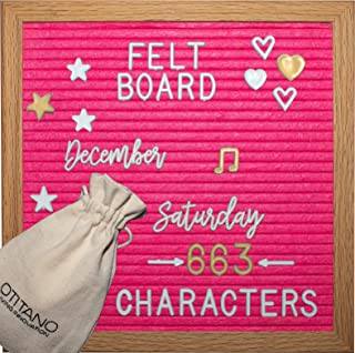 Felt Letter Board 10x10 Inch - Letter Board with White & Gold Letters - 630 Changeable Felt Board Letters, Cursive Words, Symbols for Sign and Felt Letter Board with Stand by Otitano (hot Pink)