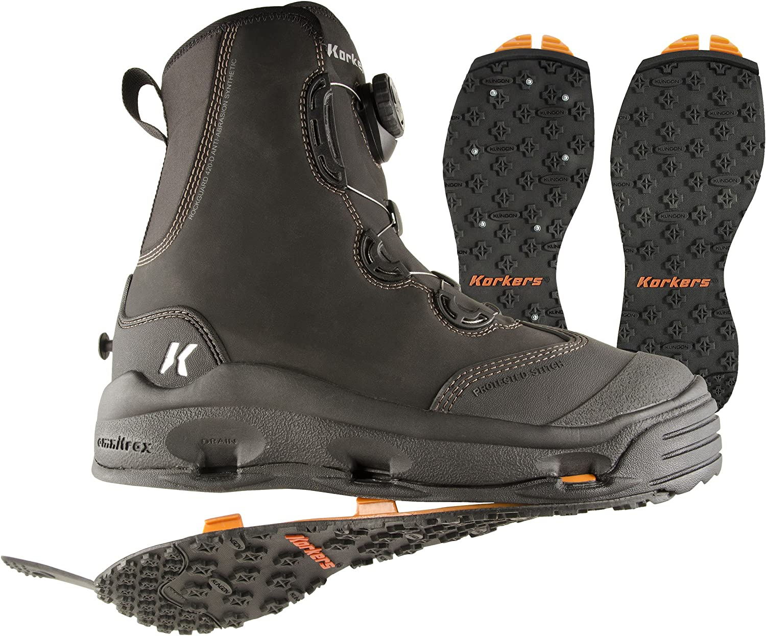Korkers Devil 's Canyon Wading Boot with kling-on and Studded kling-on Outsoles
