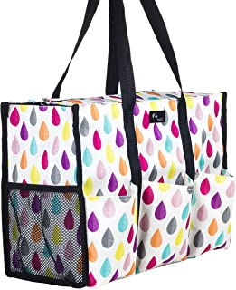 Pursetti Zip-Top Organizing Utility Tote Bag with Multiple Exterior & Interior Pockets for Working Women, Nurses, Teachers and Soccer Moms (Candy Drops)